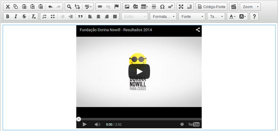 video inserido no editor
