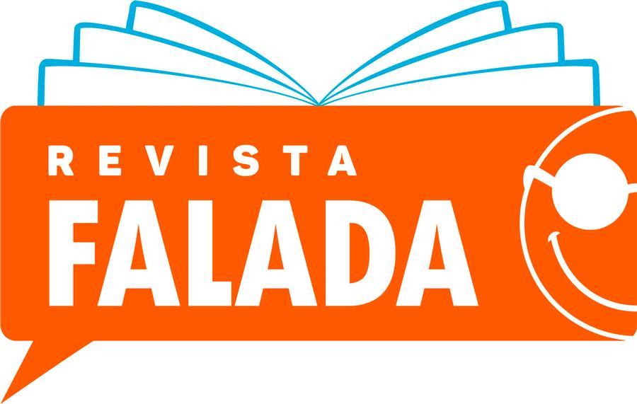 Logotipo da Revista Falada,imagem com livro impresso ao fundo, somente contorno e na frente balão de quadrinhos na cor laranja com metade do logotipo da Fundação a direita e escrito Revista falada em letras grandes branca.